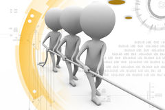 3d man pull rope illustration Stock Photo