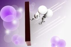 3d man pulling another to reach the top illustration Royalty Free Stock Images