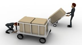 3d man pulling trolly loaded with boxes concept Stock Photos
