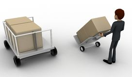 3d man pulling trolly loaded with boxes concept Royalty Free Stock Photo
