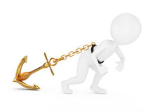 3d man pulls anchor. On white background Royalty Free Stock Photos