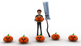 3d man with pumpkin and bloonstick concept Royalty Free Stock Photos