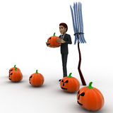 3d man with pumpkin and bloonstick concept Stock Image
