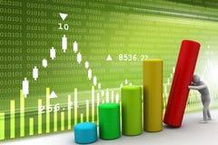 3d man push the bar graph.  Stock Photo