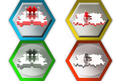 3d man push big puzzle icon Stock Photography