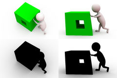 3d man push block concept collections with alpha and shadow channel Stock Images