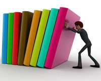 3d man push books concept Royalty Free Stock Photo