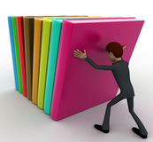 3d man push books concept Royalty Free Stock Photos