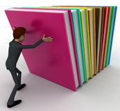 3d man push books concept Royalty Free Stock Images