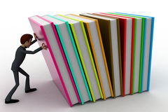 3d man push books concept Stock Image