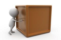 3d man push box concept Stock Image