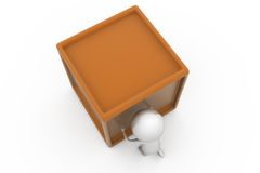 3d man push box concept Royalty Free Stock Images