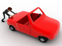 3d man push car concept Royalty Free Stock Photography