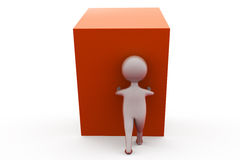 3d man push cube concept Royalty Free Stock Photography