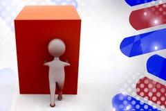 3d man push cube  illustration Royalty Free Stock Image