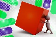 3d man push cube  illustration Royalty Free Stock Photos