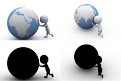 3d man push earth concept collections with alpha and shadow channel Stock Image