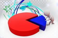 3d man push graph  illustration Stock Image