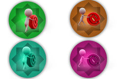 3d man push mail icon icon Royalty Free Stock Photos