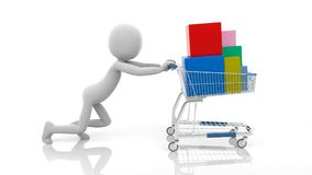 3d man push the shopping cart with boxes. 3D Rendering Image Royalty Free Stock Image