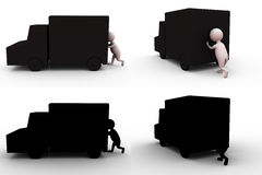 3d man push truck concept collections with alpha and shadow channel Royalty Free Stock Images