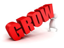 3d man push up concept GROW red text. Business success 3d render illustration Stock Photo
