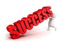 3d man push up concept SUCCESS red text. 3d render illustration Stock Photos