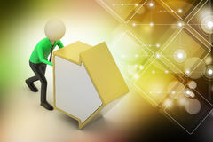 3d man pushing the arrow. In color background Royalty Free Stock Photos