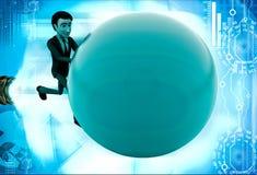 3d man pushing ball illustration Royalty Free Stock Images