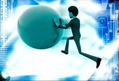 3d man pushing ball illustration Royalty Free Stock Image