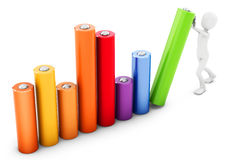 3d man pushing a bar chart Royalty Free Stock Photo