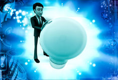 3d man pushing big bulb illustration Royalty Free Stock Photo