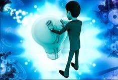 3d man pushing big bulb illustration Royalty Free Stock Photos