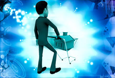 3d man pushing big bulb illustration Stock Images