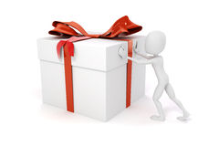 3d man pushing a big present box. On white background vector illustration