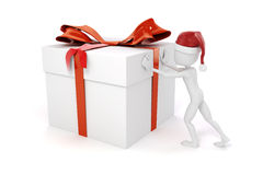 3d man pushing a big present box. On white background stock illustration