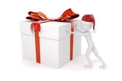 3d man pushing a big present box Stock Photos