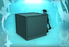 3d man pushing the box illustration Royalty Free Stock Photography