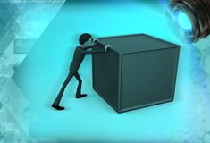 3d man pushing the box illustration Stock Photo