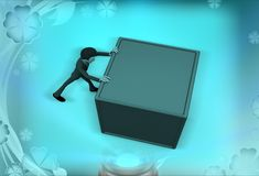 3d man pushing the box illustration Royalty Free Stock Images