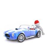 3d man pushing a broken down sports car. 3d man wearing a red Santa hat to celebrate Christmas pushing a broken down blue sports car from behind, isolated Stock Image