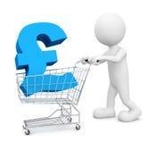 3D Man Pushing Cart Pound Symbol Concept Royalty Free Stock Photos