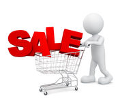 3D man pushing cart SALE Finance Concept Stock Photos