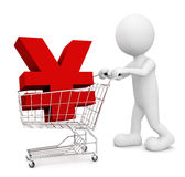 3D man pushing cart Yen symbol Japanese Concept Royalty Free Stock Images