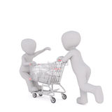 3d man pushing a child on a shopping cart Royalty Free Stock Images