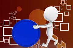 3d man pushing circle illustration Stock Photo