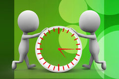 3d man pushing clock Royalty Free Stock Images