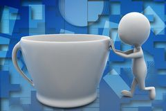 3d man pushing coffee cup illustration Stock Image
