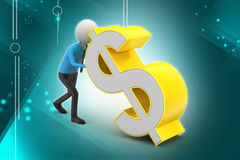 3d man pushing the dollar sign Stock Photography