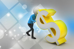 3d man pushing the dollar sign Royalty Free Stock Images